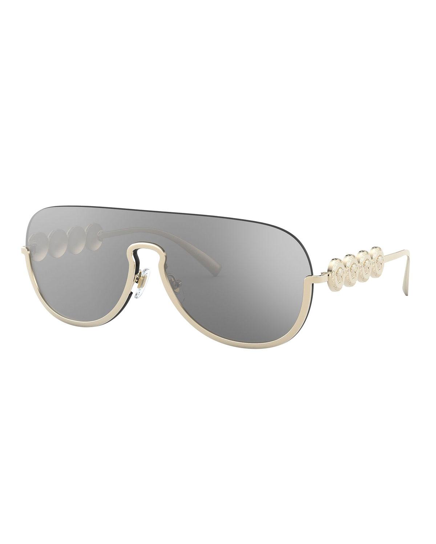 Versace Sunglasses SEMI-RIMLESS MIRRORED SHIELD AVIATOR SUNGLASSES