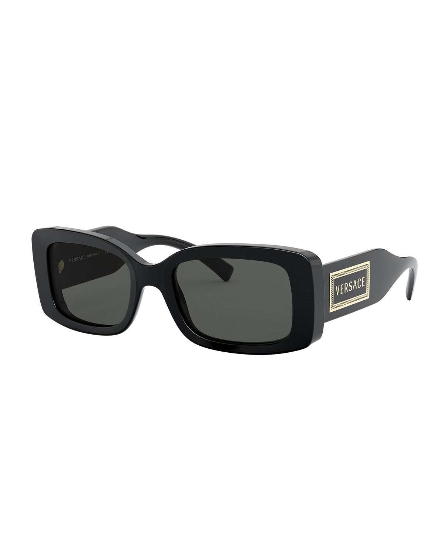 Versace Sunglasses RECTANGLE ACETATE SUNGLASSES W/ OVERSIZED LOGO TEMPLES