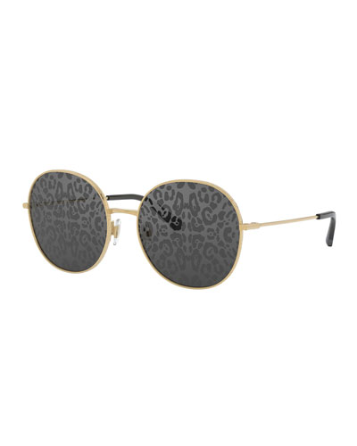 Round Metal Sunglasses w/ Leopard Print Lenses