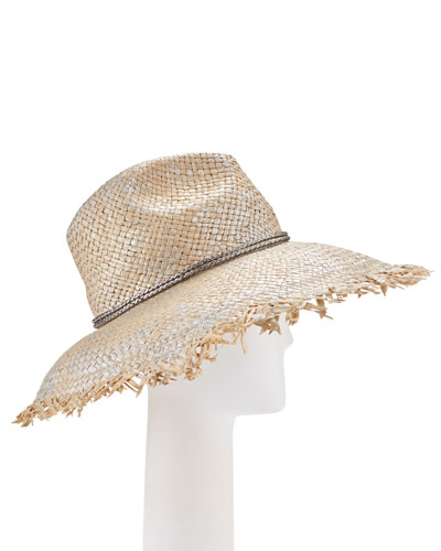 Metallic Raw-Edge Straw Hat