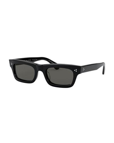 Rectangle Polarized Acetate Sunglasses