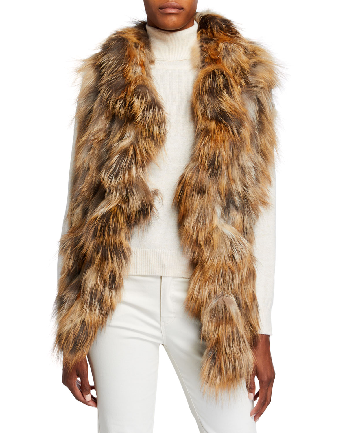 Gorski Accessories S-CUT RUFFLE KNIT FOX FUR STOLE
