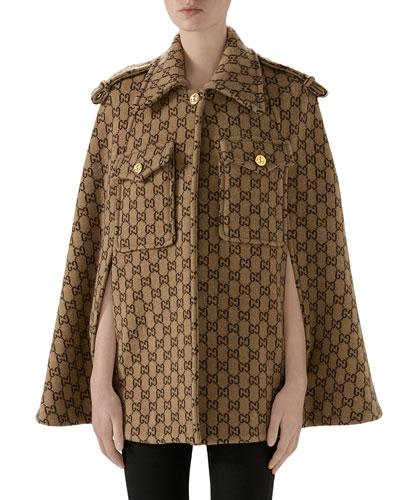 GG-Knit Wool Cape Jacket