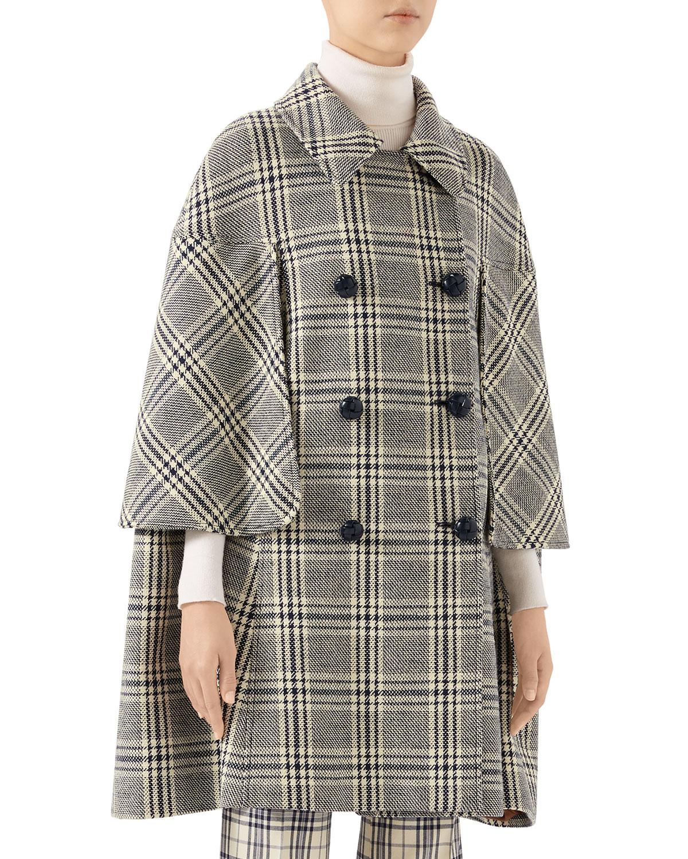 Gucci Coats CHECKED WOOL CAPE COAT