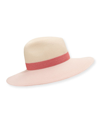 Emmanuelle Colorblock Wide Brim Fedora Hat