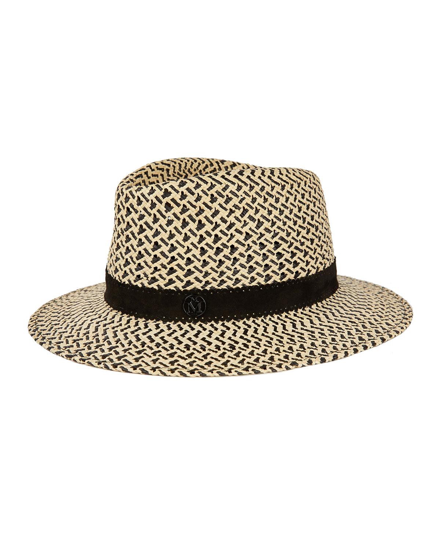 Maison Michel Hats ANDRE BICOLOR STRAW FEDORA HAT