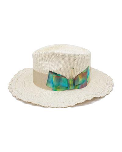Kaleidoscope Straw Fedora Hat w/ Tie Dye Bow
