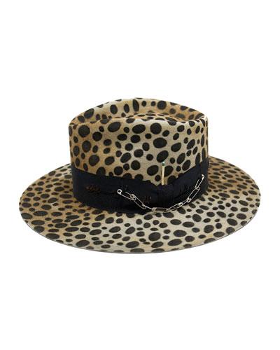 Lynx Animal Print Beaver Felt Fedora Hat