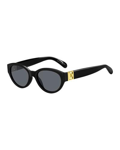 Oval Acetate Sunglasses w/ Metal Logo Hinges