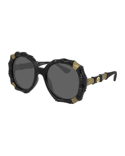 Bamboo Effect Round Sunglasses