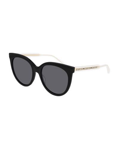 Colorblock Acetate Cat Eye Sunglasses