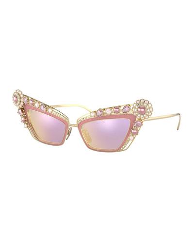 Crystal Embellished Cat-Eye Sunglasses