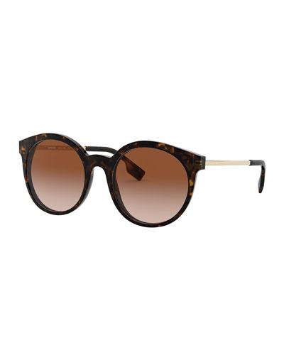 Round Acetate & Metal Sunglasses