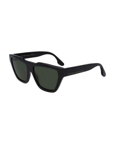 Modern Squared Cat Acetate Aviator Sunglasses
