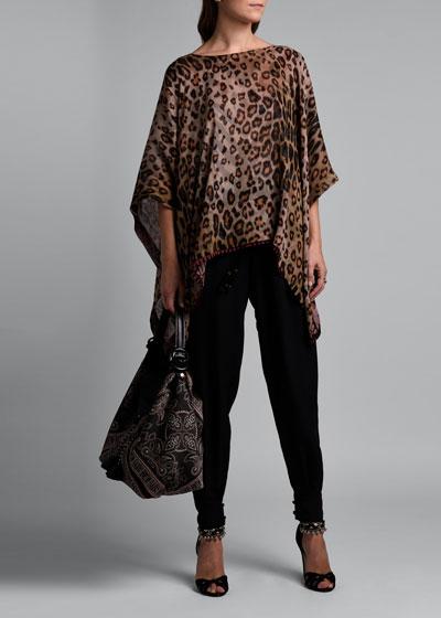 Leopard-Print  Poncho