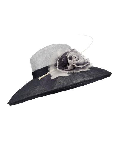 Sisal Large Brim Hat w/ Silk Flower