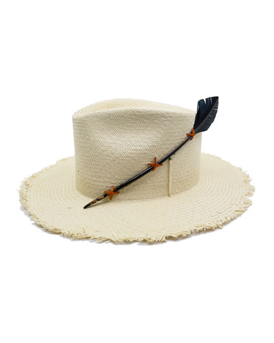 Black Bird Straw Fedora Hat