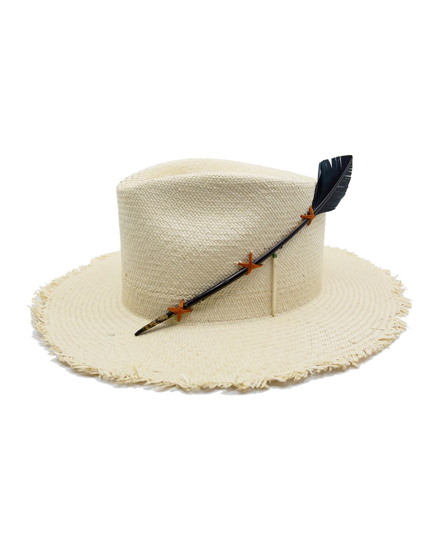 Nick Fouquet BLACK BIRD STRAW FEDORA HAT