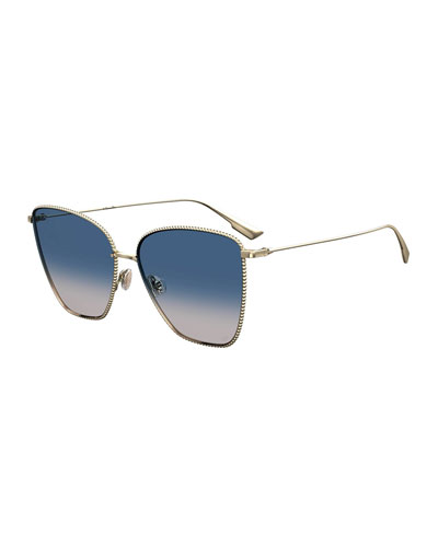 DiorSociety1 Beaded Metal Square Sunglasses
