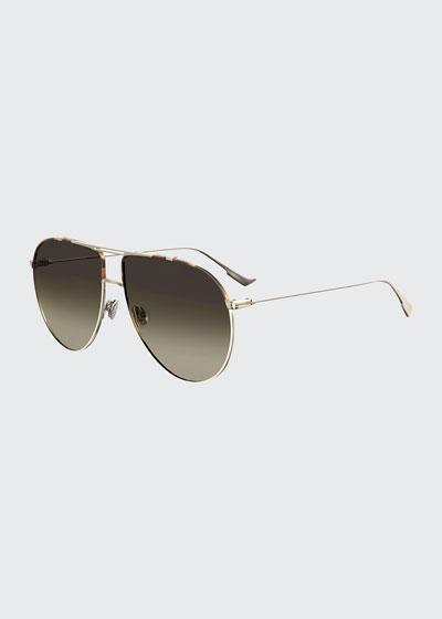 DiorMonsieur1 Metal Aviator Sunglasses