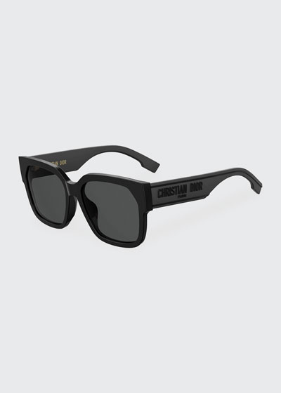 DiorID1 Square Acetate Sunglasses w/ Tonal Logo Arms