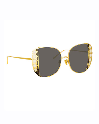 Amelia 18k Yellow Gold Stained Glass Butterfly Sunglasses