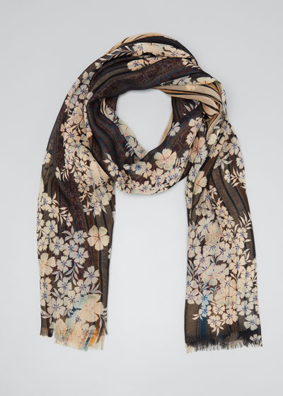 Ribbon Floral Reversible Floating Floral Silk Scarf