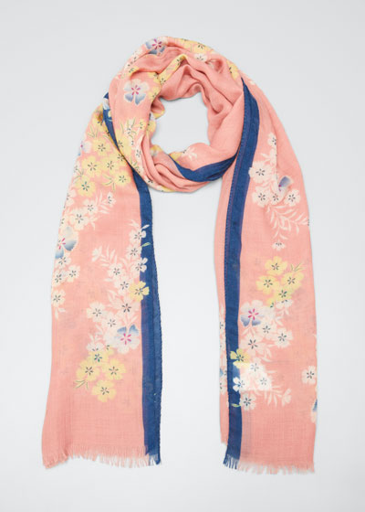Floating Flower Print Cashmere Scarf