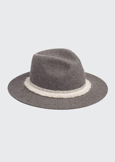 Georgina Wool Fedora Hat w/ Sequin Fringe Band