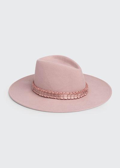 Harlowe Wool Felt Fedora Hat w/ Ruffled Band