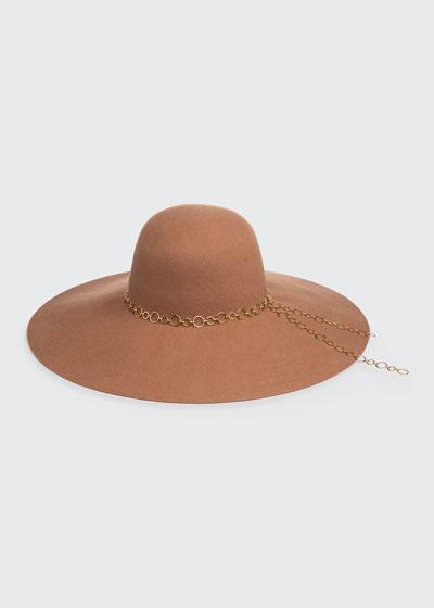 Bunny Floppy Wool Hat w/ Link Chain Trim
