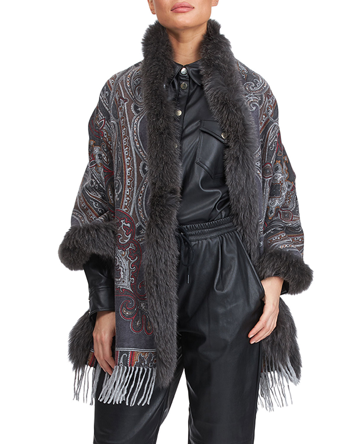 Gorski DOUBLE FACE CASHMERE STOLE WITH FOX FUR TAPING