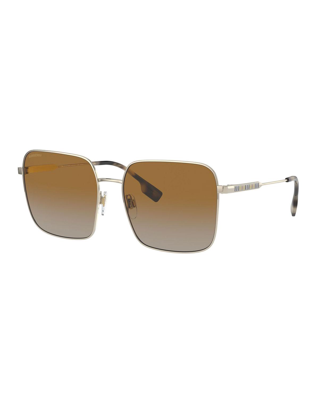 Burberry Sunglasses OVERSIZED SQUARE STEEL SUNGLASSES, GOLD/BROWN
