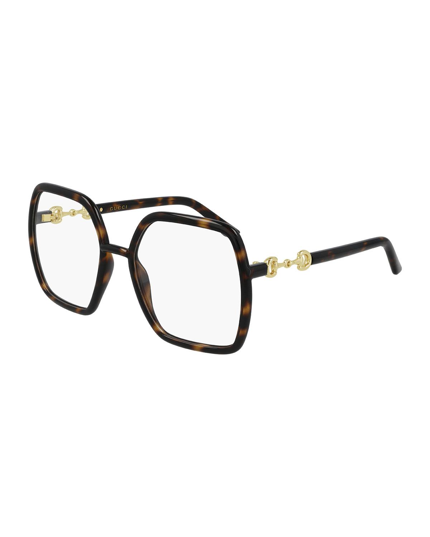 Gucci OVERSIZED GEOMETRIC INJECTED PLASTIC OPTICAL GLASSES, DARK HAVANA