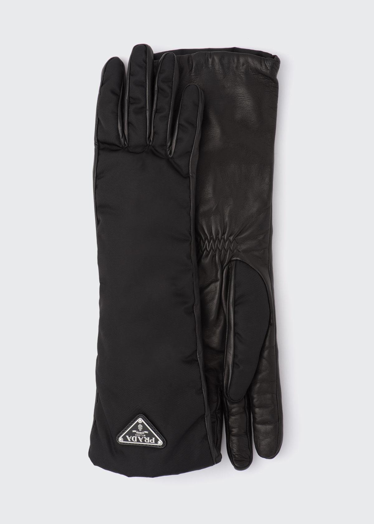 Prada Long Nylon Leather Gloves In Black