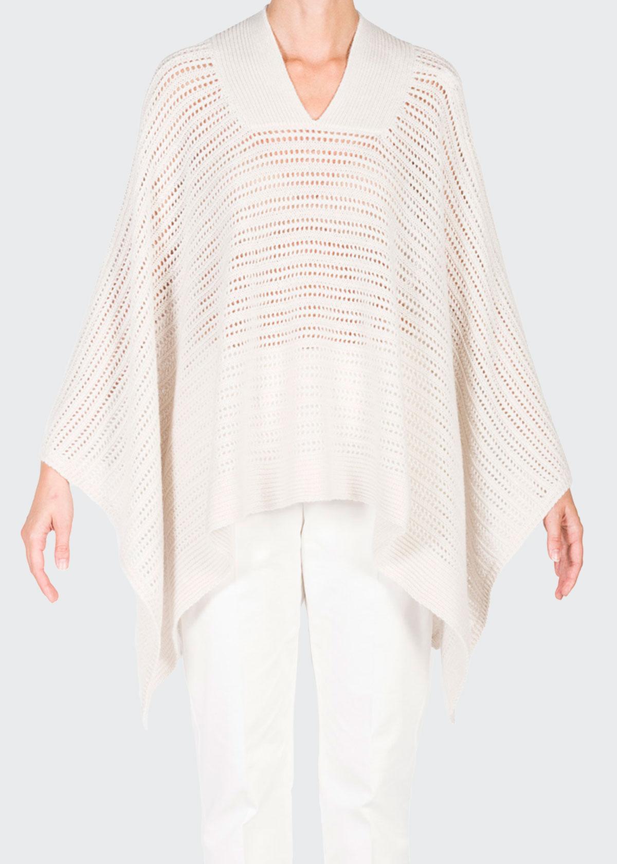 Agnona MESH CASHMERE-BLEND V-NECK CAPE