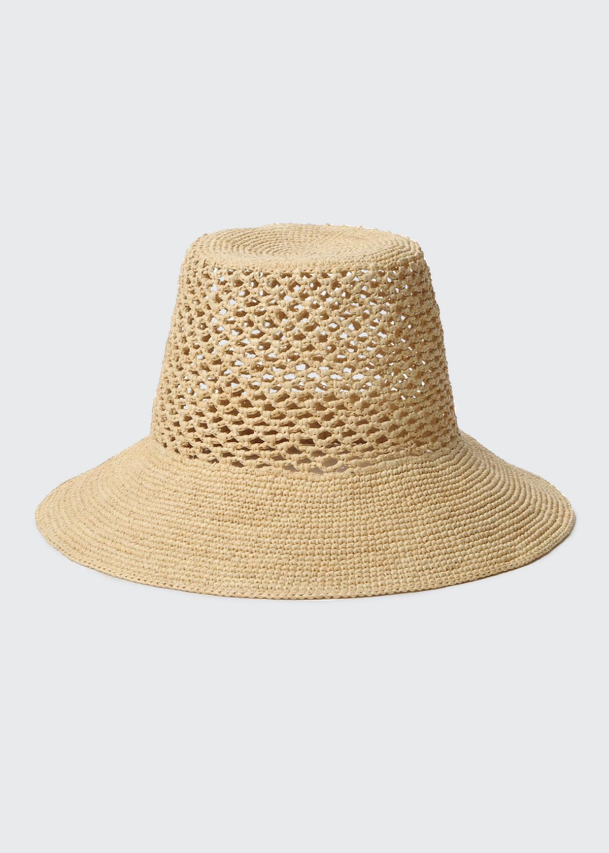 Janessa Leone LYNDA WOVEN STRAW BUCKET HAT