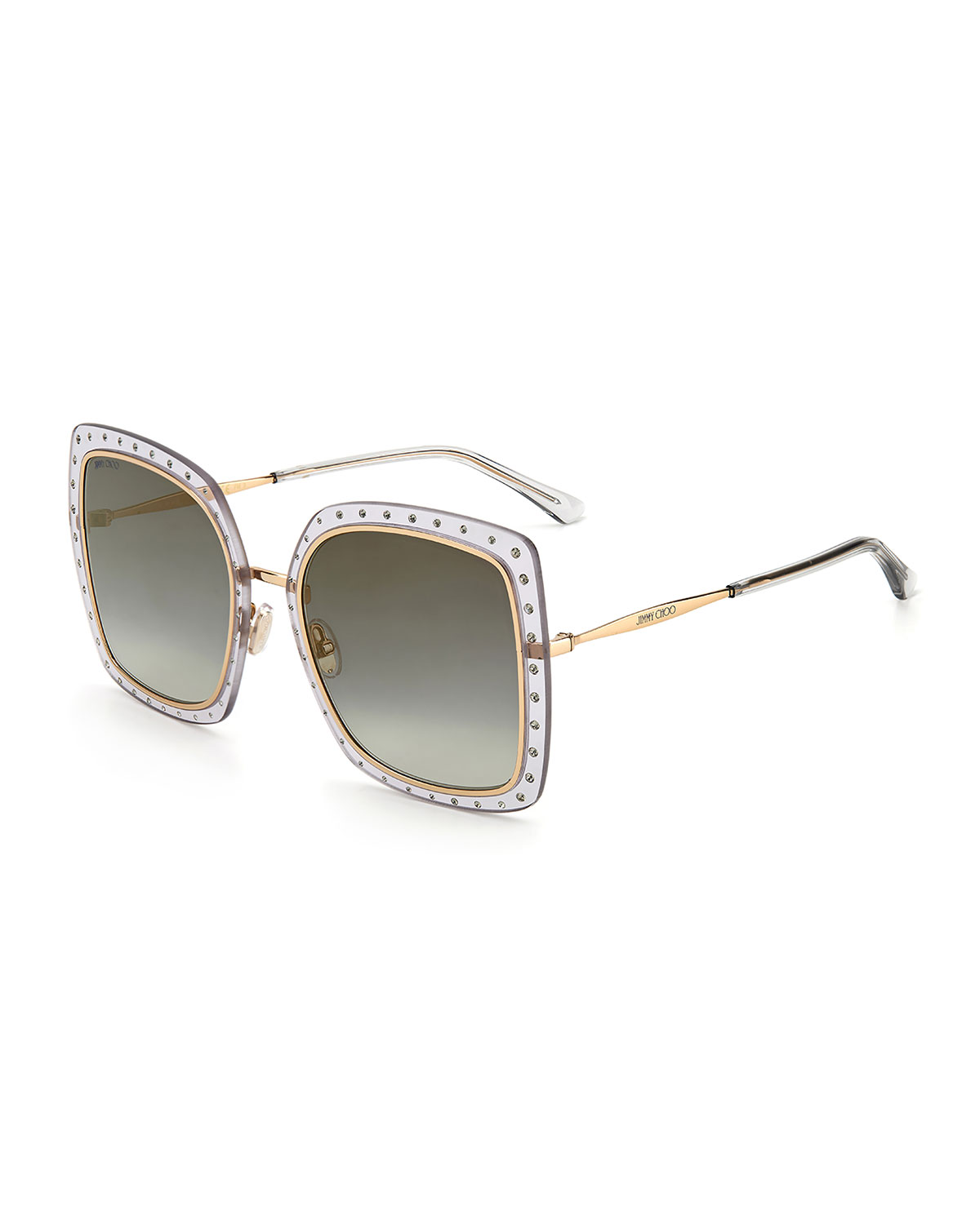 Jimmy Choo DANY OVERSIZED SQUARE STAINLESS STEEL/ACETATE SUNGLASSES