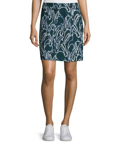 Bunny-Print Combo Jacquard Skirt, Deep Forest