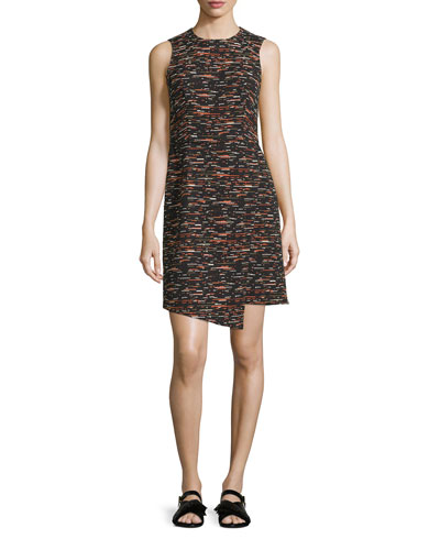 Sleeveless Tweed Dress w/ Asymmetric Hem, Multi