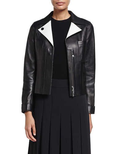 Lambskin Leather Jacket w/ Contrast Facing, Black/Shell White