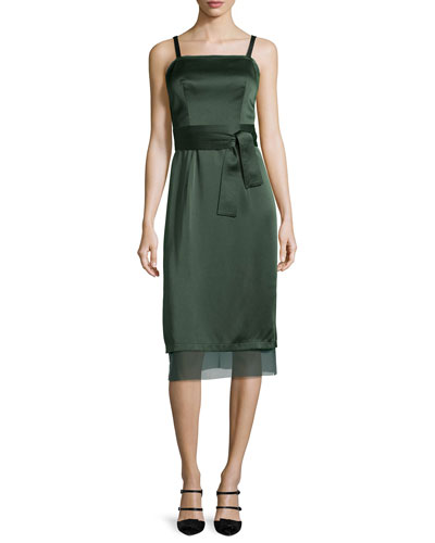 Square-Neck Double-Satin Slip Dress, Deep Forest