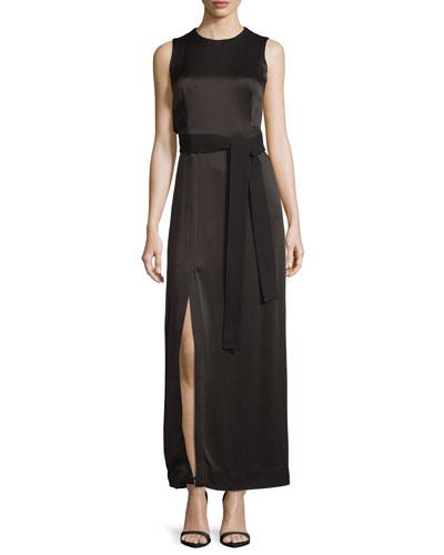 Sleeveless Jewel-Neck Satin Column Gown w/ Sash, Black