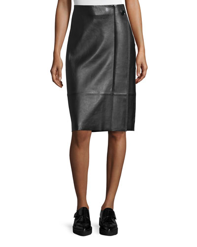 Paneled Lambskin Pencil Skirt w/ Side Pleat, Black/Gravel