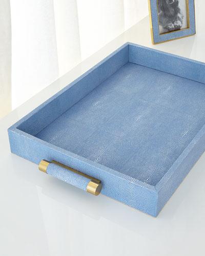 Blue Faux-Shagreen Rectangular Tray