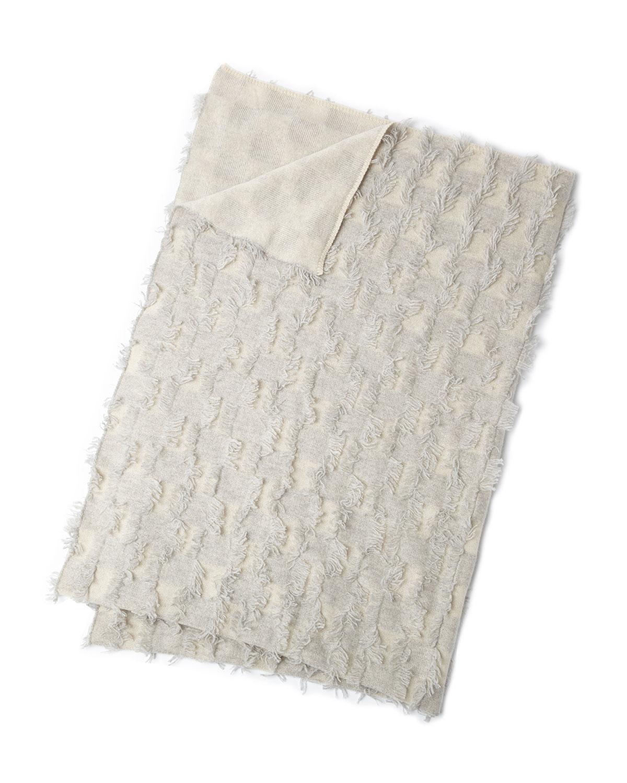 Frayed Checker-Print Cashmere Throw Blanket, Gray