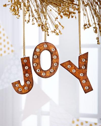 Joy Hollywood Letter Christmas Ornaments, 3-Piece Set