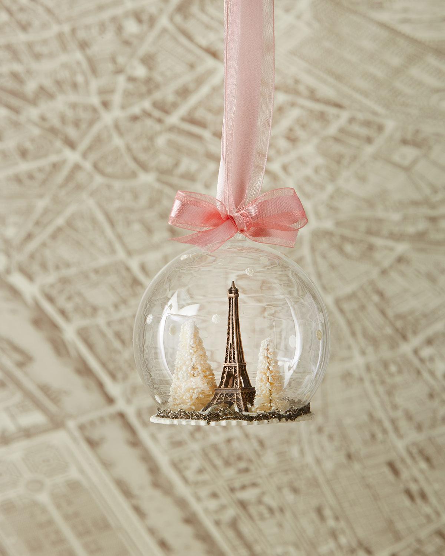 Eiffel Tower Globe Christmas Ornament