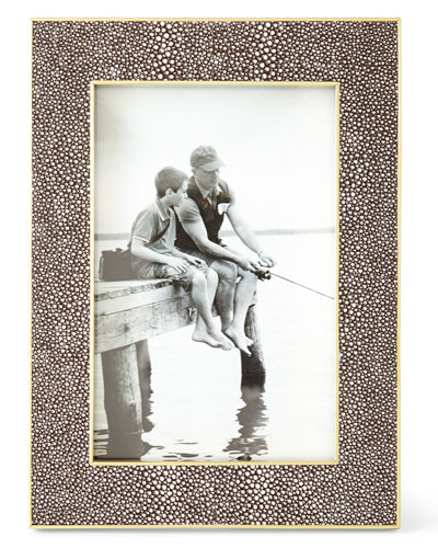Classic Chocolate Faux-Shagreen Picture Frame, 4