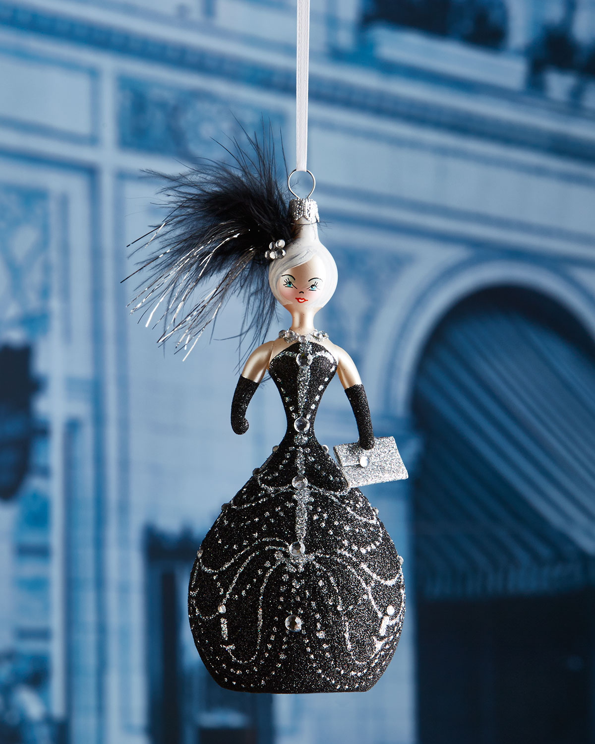 Linda in Black Ball Gown Christmas Ornament